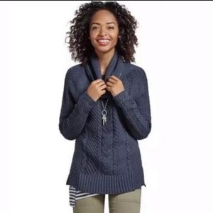 Cabi Navy Cable Knit Cowl Neck Sweater